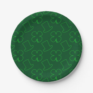 Leprechaun Hat and Clover Pattern Paper Plate