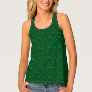 Leprechaun Hat and Clover Pattern Tank Top