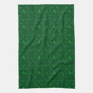 Leprechaun Hat and Clover Pattern Towel