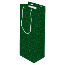 Leprechaun Hat and Clover Pattern Wine Gift Bag