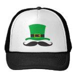 Leprechaun hat funny mustache St Patrick's day
