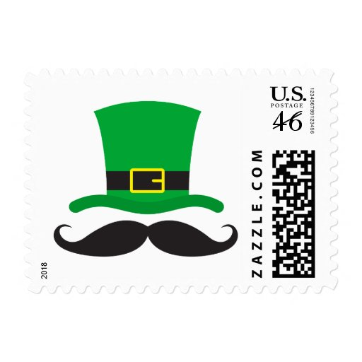 Leprechaun hat funny mustache St Patrick's day Postage Stamps