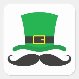 Leprechaun hat funny mustache St Patrick's day Square Sticker