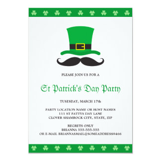 Leprechaun hat mustache St Patrick's day party Card