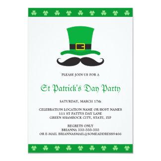 "Leprechaun hat mustache St Patrick's day party 4.5"" X 6.25"" Invitation Card"