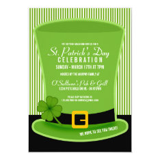 Leprechaun Hat St. Patricks Day Party Invitations at Zazzle