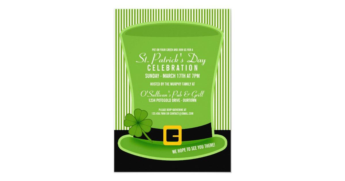 Leprechaun Hat St. Patricks Day Party Invitations   Zazzle.com