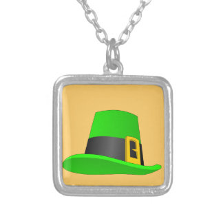 Leprechaun Hat With Buckle Silver Plated Necklace