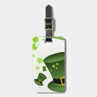 Leprechaun hats with 4 leaf clovers bag tag
