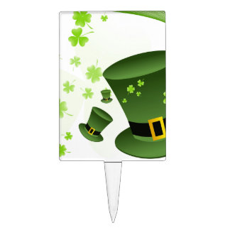 Leprechaun hats with 4 leaf clovers cake topper