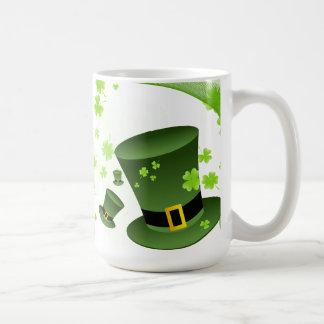 Leprechaun hats with 4 leaf clovers coffee mug