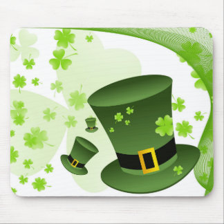 Leprechaun hats with 4 leaf clovers mouse pad