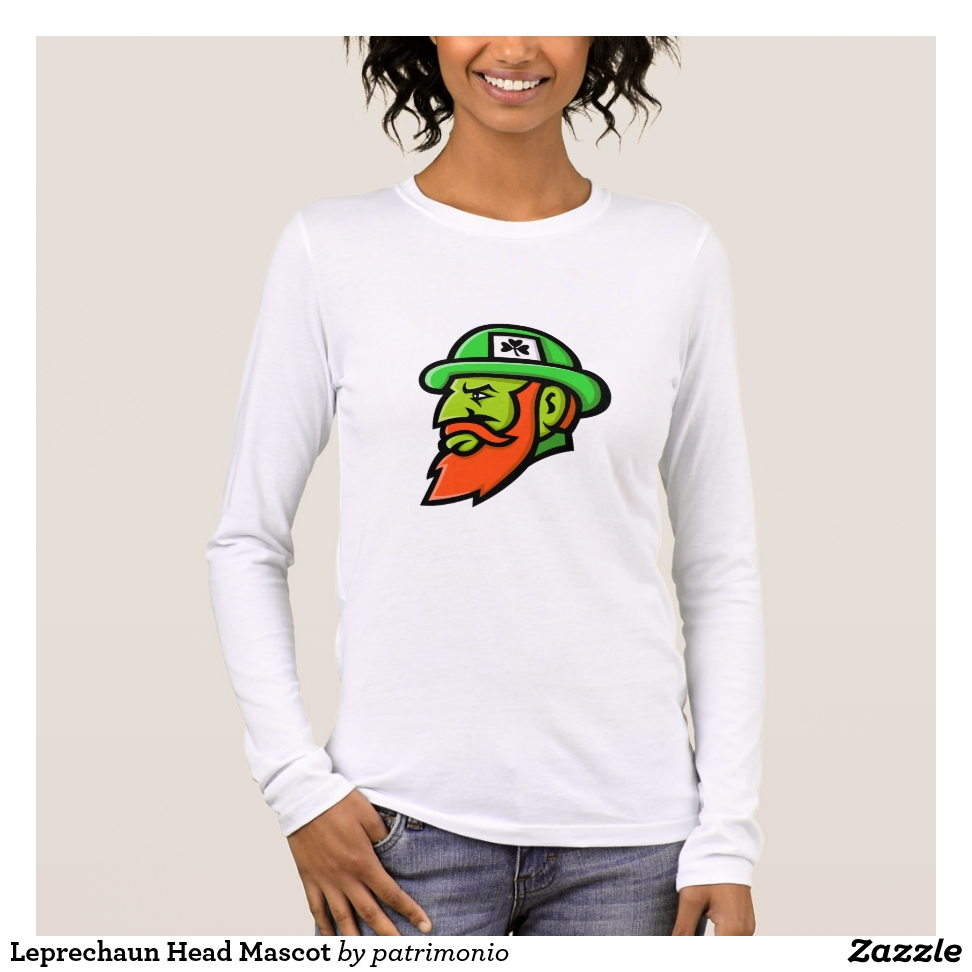 Leprechaun Head Mascot Long Sleeve T-Shirt - Best Selling Long-Sleeve Street Fashion Shirt Designs