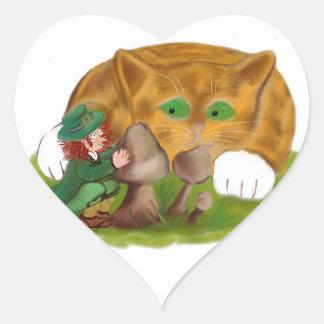 Leprechaun Hides from Orange Tiger Kitten Heart Sticker