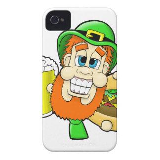 Leprechaun Holding Burger & Beer in Shamrock Shape iPhone 4 Cover