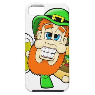 Leprechaun Holding Burger & Beer in Shamrock Shape iPhone SE/5/5s Case