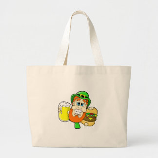 Leprechaun Holding Burger & Beer in Shamrock Shape Large Tote Bag