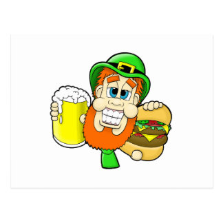 Leprechaun Holding Burger & Beer in Shamrock Shape Postcard