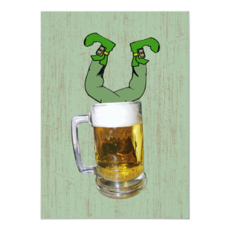 Leprechaun in Beer Party Card
