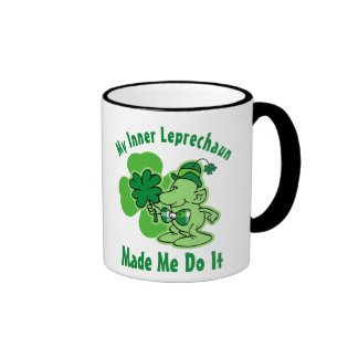 Leprechaun interno de la tela escocesa taza de café