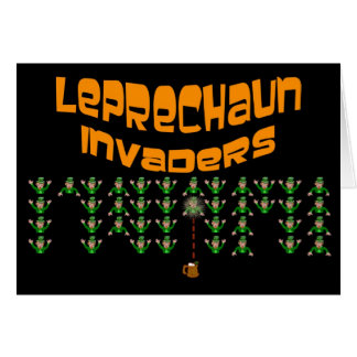 Leprechaun Invaders.  Happy St. Patrick's Day Greeting Card