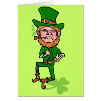Leprechaun irlandés afortunado enojado divertido tarjeta de felicitación
