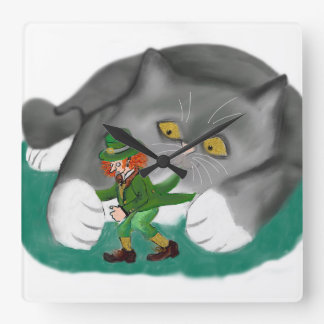 Leprechaun is between Kitten Paws Square Wallclocks
