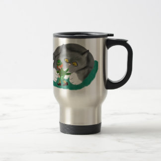 Leprechaun is between Kitten Paws Travel Mug