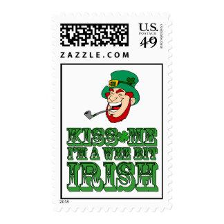 Leprechaun Kiss Me I'm  a Wee Bit Irish Postage