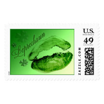 Leprechaun Kisses Green Lips Fun St. Patrick's Day Postage