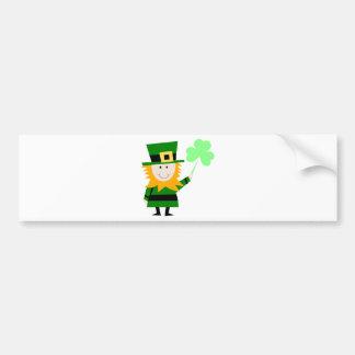 Leprechaun Lucky Clover Man Bumper Sticker