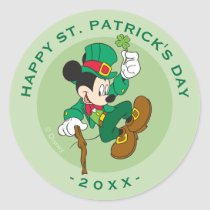 Leprechaun Mickey Mouse | St. Patrick's Day Classic Round Sticker