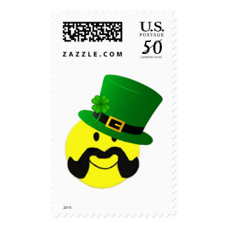 Leprechaun Mustache Smiley Face St Patricks Stamp