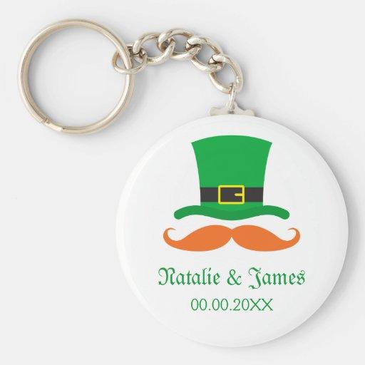 Leprechaun mustache St Patrick's day wedding favor Basic Round Button Keychain