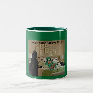 Leprechaun night on the town Two-Tone coffee mug