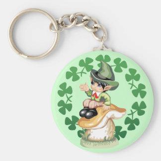 Leprechaun on a Mushroom Keychain