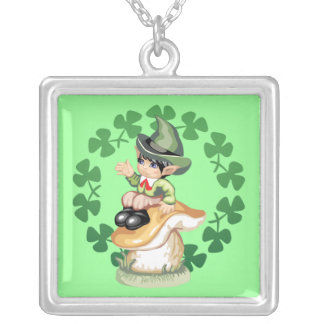 Leprechaun on a Mushroom Silver Plated Necklace