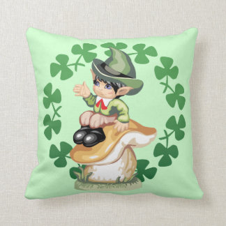 Leprechaun on a Mushroom Throw Pillow