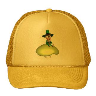 Leprechaun On Toadstool Trucker Hats