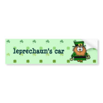 leprechaun owl bumper sticker
