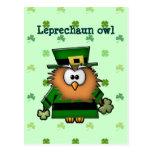 leprechaun owl postcard