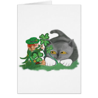 Leprechaun Picks a Four Leaf Clover for Kitten Card