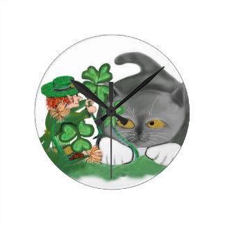 Leprechaun Picks a Four Leaf Clover for Kitten Round Wallclocks