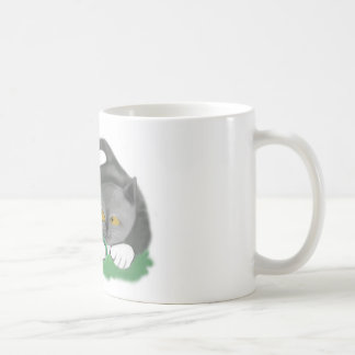 Leprechaun Picks a Four Leaf Clover for Kitten Coffee Mug
