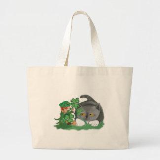 Leprechaun Picks a Four Leaf Clover for Kitten Large Tote Bag