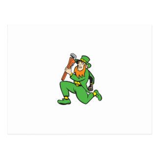 Leprechaun Plumber Wrench Running Retro Postcards