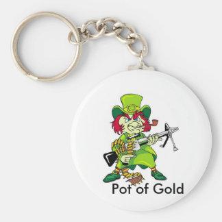 leprechaun, Pot of Gold Basic Round Button Keychain