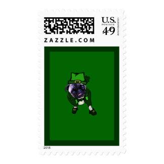 Leprechaun Pug Postage Stamps
