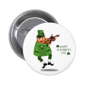 Leprechaun que toca el violín el botón pins