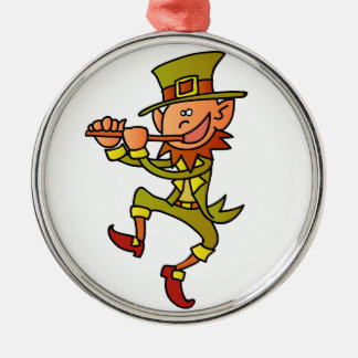 leprechaun round metal christmas ornament